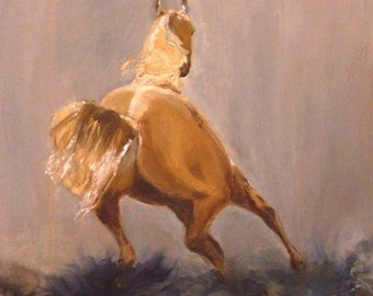 Speed Strength and Beauty 18x18 Original Oil Painting by Kathleen Farmer Denver Artist