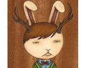 Jack, jackalope archival print of original illustration by Anna Tillett Designs