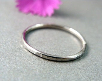 petite solid 14k white gold stack ring