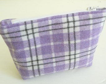 Purple Plaid Wool Cosmetics Bag, Makeup Bag, Zippered Pouch, Lavender and Grey