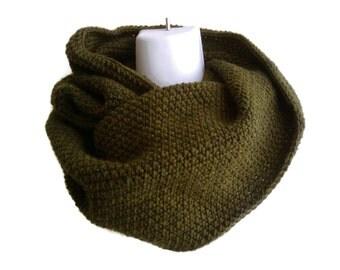Moss Green Cowl Wool Neckwarmer Hood NIKKI Made to Order