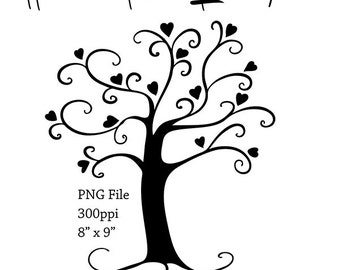 Heart Tree Silhouette | Tree Silhouette PNG File | Tree Clip Art | Instant Download Digital Scrapbooking Elements | Clip Art Trees | Clipart
