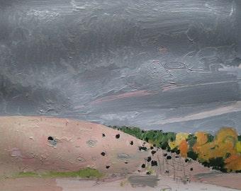 October 5, Hillside, Original Landscape Painting on Paper, Stooshinoff