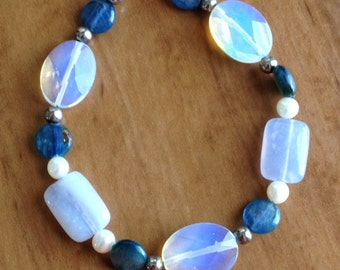 Opalite, Kyanite, Blue quartz and Pearl Bracelet