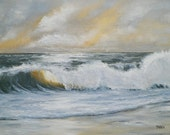Seascape Golden Afternoon Original Oil Painting by Artist Debra Alouise