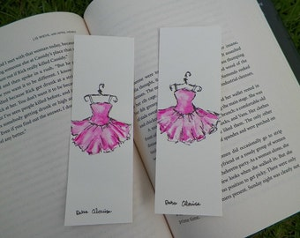 Pink Tutu Ballerina Watercolor ACEO Bookmark Art Original Painting by Artist Debra Alouise