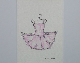 Pink Tutu Dress Watercolor Childrens Fashion Kids Art Original Painting by California Artist debra alouise