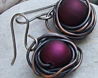 Copper Wire Nest Earrings Copper Jewelry