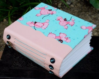 PINK POODLE Flannel Fabric Covered Blank Art Journal Book with Ballet Pink Leather Spine