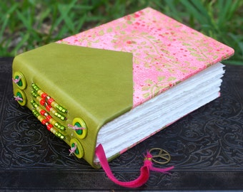 Moss Green and Salmon PAISLEY Mixed Media Painted and Bound Art Journal GUEST Bridal WEDDING Book Blank Sketch Book Beaded Leather Spine