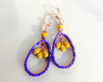 Purple mustard copper earrings