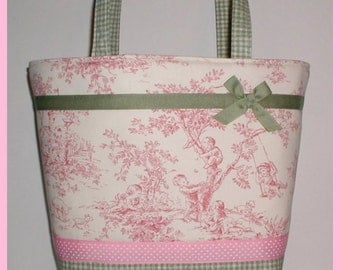 Pink Sage Diaper Bag Tote Green Central Park Ribbon Bow Gingham