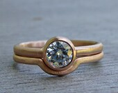Moissanite and Recycled 14k Rose Gold Engagement Ring and Wedding Band Set - Diamond Alternative - Made To Order