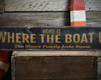 Boat Sign, Custom Boat Sign, Custom Lake Sign, Boat House Sign, Lake House Sign, Lake Sign - Rustic Hand Made Vintage Wooden ENS1001100
