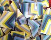 100 Crazy Zig Zag Chevron Stripe Blue Green Mosaic Tiles Mix Broken Plate Art Hand Cut Mix Assortment