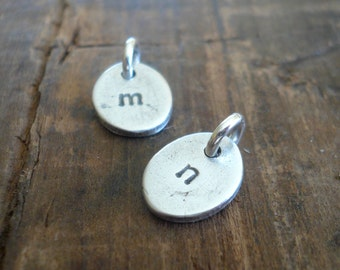 Egglet Initial Pendants- Handmade. Personalized. Oxidized Fine Silver