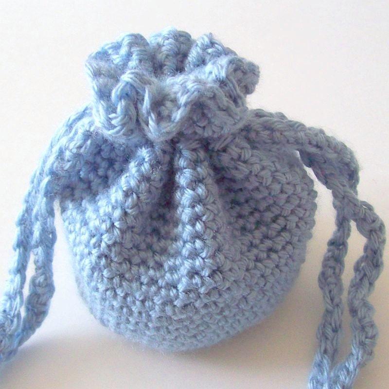 Crochet Drawstring Bag Blue Crochet Bag Crochet Pouch by HCKCrafts