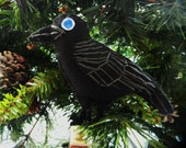 Crow Embroidered Felt Ornament Home Decor