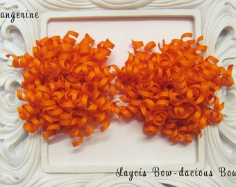 Petite TANGERINE Korker Hair Bow Set, set of 2, korkers, pigtail bows, toddler, hair bows for girls, birthday bows, international shipping