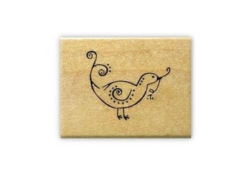 Folk Art Bird gathering nesting material, mounted rubber stamp, sprig of mistletoe, Christmas, whimsical, spring, Sweet Grass Stamps No.15