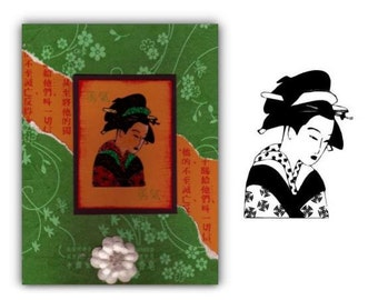 GEISHA unmounted Oriental rubber stamp, Japanese lady, geiko, artisan, entertainer, woman, Sweet Grass Stamps No.12