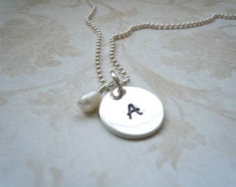 Personalized Sterling silver necklace with a small freshwater pearl