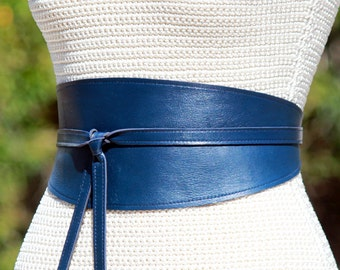 REVERSIBLE Leather Navy Blue wide obi wrap sash belt - custom choice fabric or denim on second side - XS S M L Petite + Plus size cinch sash