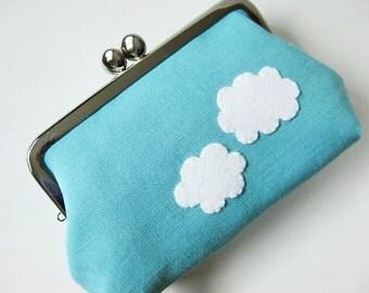 Kiss lock purse blue sky white clouds frame purse aqua blue sky blue cute kawaii cloud
