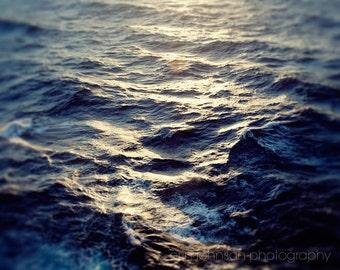 ocean photography, mediterranean sea, water, waves, nautical, sunset, blue home decor, dark blue decor, abstract decor, The Sea at Sunset