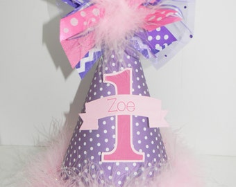 Personalized Purple and Pink Polka Dot Birthday Party Hat