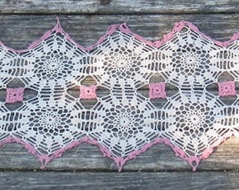 Vintage Lace Crocheted Dresser or Table Runner in Dusty Pink and Ecru, 13x67 Inch