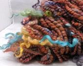 Handspun Art Yarn Coiled Super Bulky Art, 50 yards, 5.7 oz. Thick and Thin Wool Locks Knitting Crochet Weaving HS-00033