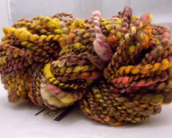 RESERVED - Handspun Yarn Thread-Plied Super Bulky, 60 yards, 5.2 oz. - COPPER POT - Thick and Thin Coiled Wool Art Knitting Crochet Weaving