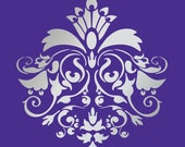 """DESIGNER DAMASK STENCIL for wall, curtains, cakes, pattern faux mural 1026 size 6"""" x 6.4"""""""