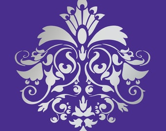"""DESIGNER DAMASK STENCIL for wall, curtains, cakes, pattern faux mural 1026 size 13"""" x 13.9"""""""