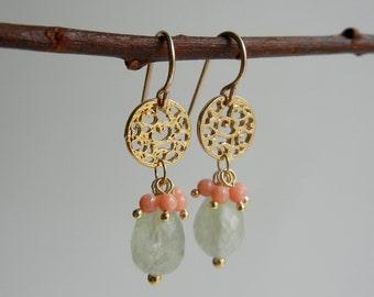 Prehnite and Coral Ayurvasita II Earrings