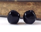 Black Hollow Nugget Lampwork Glass Bead Pairs