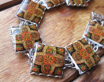 Mexican bracelet, Southwestern tile pattern, Mexican Talavera ceramic design, Bohemian chic, Fall colors