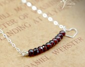 Deepest Red Garnet Necklace Heart    sterling silver chain