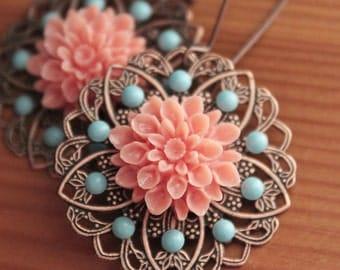 Copper Filigree - Swarovski Pearls - Flowers - Kidney Earwires