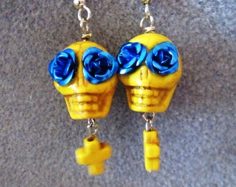 Day of the Dead Dia de los Muertos Sugar Skull Skelton Earrings Yellow Blue 10