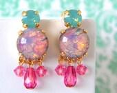 Vintage Harlequin Opal Pink Pale Green Dangle Earrings