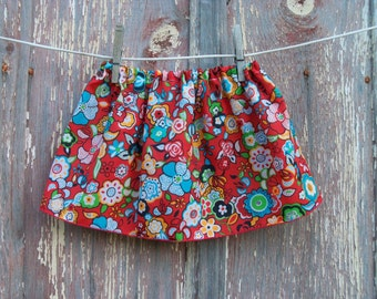 Half Price Sale Vintage Scarf Skirt in Red Floral Print ONE SIZE fits 2T to 4 recycled OOAK