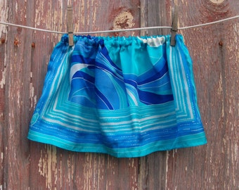 Half Price Sale Vintage Scarf Skirt in Blue and White Print ONE SIZE fits 2T to 4 recycled OOAK