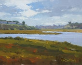 Before the Rain - 9 x 12 Inch Original Impressionist Style Landscape Painting of Clouds - Wetland Painting - Living Room Art