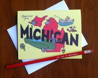 Greetings From Michigan 1950's Card -Blank Inside