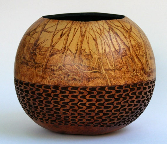Deer in the Wood Pyrography on Gourd Art Bowl