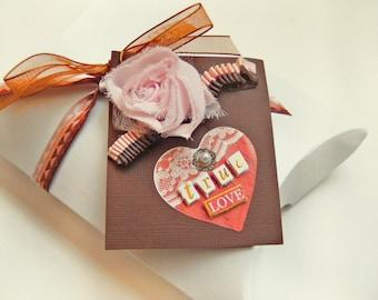 PILLOW BOX and TAG / Valentine Love Ribbon / Gift Wrap Set