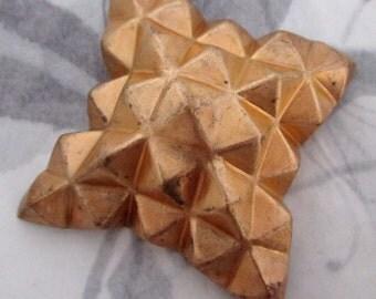 vintage raw brass geometric chunky stamping 39mm - f4302