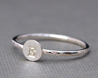 Initial Ring, Silver Ring, Personalized Jewelry, Custom Silver Initial Ring , Typewriter font